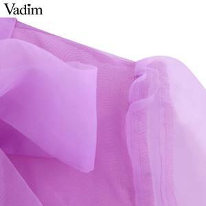 Image 3 - Vadim kobiety chic stałe muszka kołnierz bluzka Organza latarnia rękaw urząd wear koszula damska przepuszczalność top blusas LB420