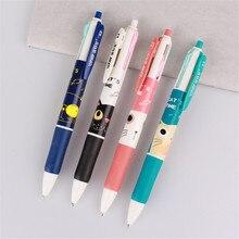 2 قطعة لطيف الكرتون القط 4 ألوان قلم حبر جاف ملون الكرة القلم Kawaii القرطاسية الاطفال توريد مدرسة مكتب الكتابة اللوازم