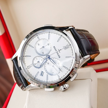 2021 Reef Tiger/RT Luminous Watch Men Luxury Watch White Dial Date Steel Watch Chronograph Quartz Leather Strap RGA1669 1