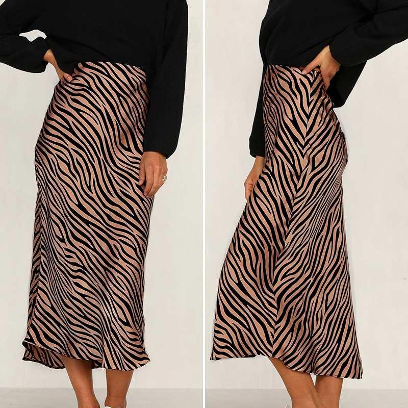 OL Office Skirt Women 2021 VONDA Sexy Zebra Stripes Print Party Long Skirts Animals Print Party Skirt Femininas Plus Size
