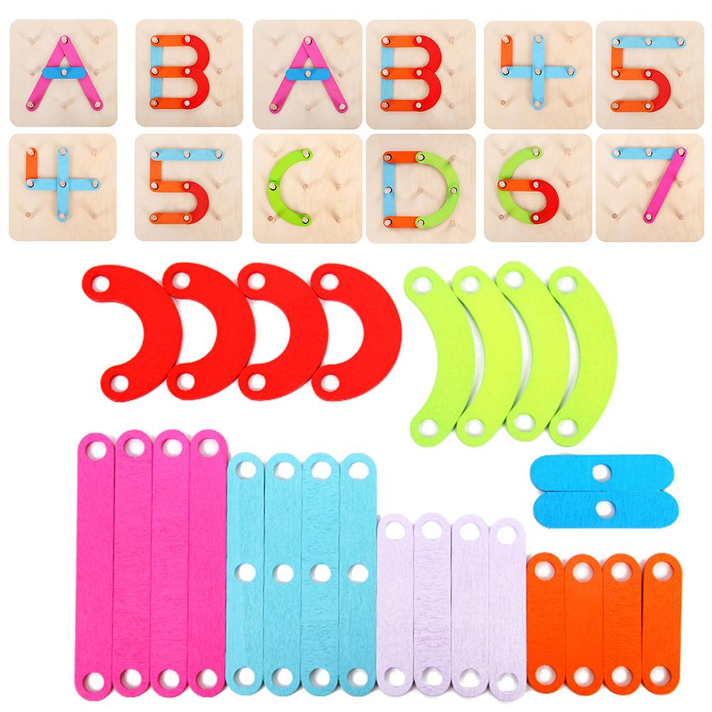 Wooden Letter Number Sorter Puzzle Pegboard Activity Board Toy Educational Toy Gift For Children Kids Primary Math Education