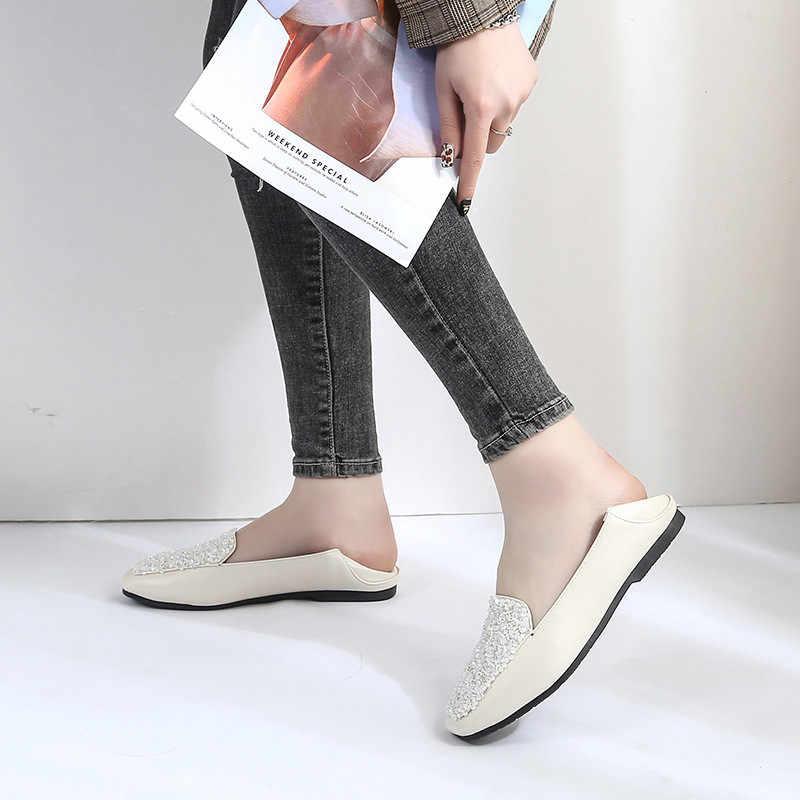 HOVINGE thu Xuân Pha lê Da Lộn Nữ Giày Mocassin Femme 2 mặc trơn trượt trên espadrilles Plus