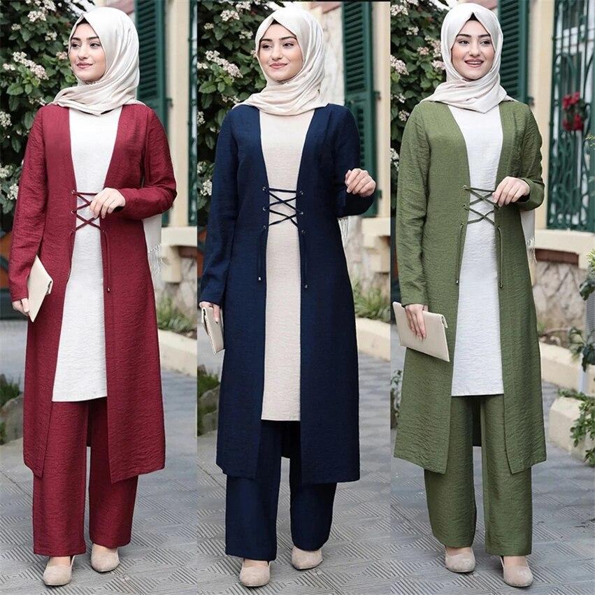 Three-Piece Abaya Turkish Kimono Tops Pants Muslim Dress Abayas Hijab Robe Dubai Caftan Kaftan Islami Clothing for Women Fashion