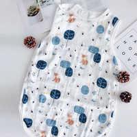 Bolsa de dormir de bebé de cuatro capas algodón lavado muselina gasa manta gruesa de tipo camiseta de gasa de algodón de bebé recién nacido sacos para dormir