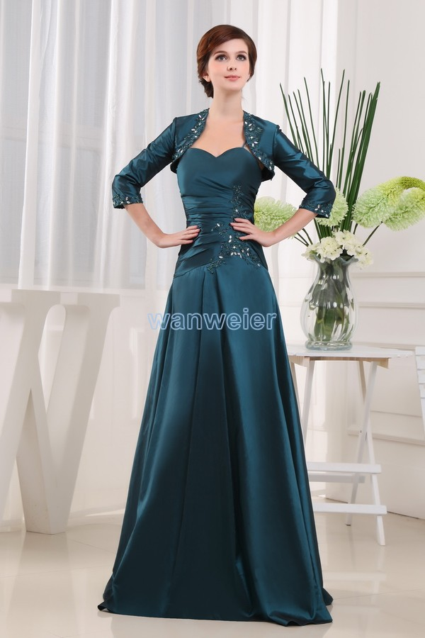 Free Shipping New Style 2016 Taffeta Vestidos Formals Brides Maid Dresses Maxi Dresses Long Mother Of The Bride Dress And Jacket