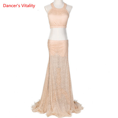 Belly Dance Set Exercise Clothes 2019 New Set Of Mesh  Silk Split Skirt Female Competition Costumes 2pcs Free Delivery