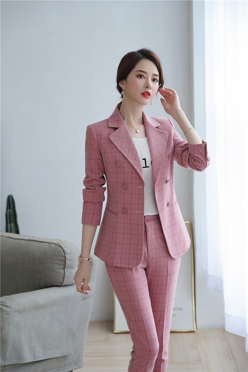 High Quality Fabric Novelty Pink Plaid Business Suits With Jackets and Pencil Pants Ladies Work Wear Blazers Pantsuits with Belt 20