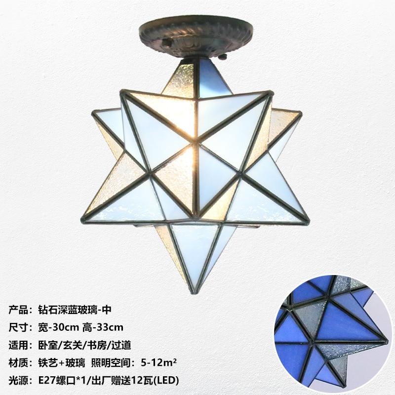 Американская пентаграмма входной свет коридор балкон потолочный светильник спальня столовая креативная звезда стеклянная лампа - Цвет корпуса: I