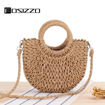 FOSIZZO Summer Bag Handmade Half-Round 2020 Rattan Woven Straw Bag Women Messenger Crossbody Bags Girls Beach Bag FS5126