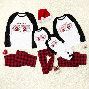 Conjunto de pijamas de navidad para niños y adultos, ropa de dormir familiar, 2020