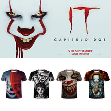 Stephen King's Eponymous Novel Pennywise Clown Men t-shirt Fashion Casual Harajuku t shirt Horror Movie Funny Tee Tops Halloween(China)