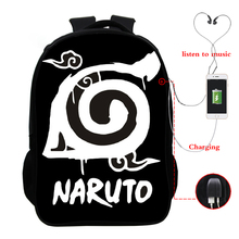 Naruto multi-function USB charging backpack laptop suitable for youth school 16 inch bag
