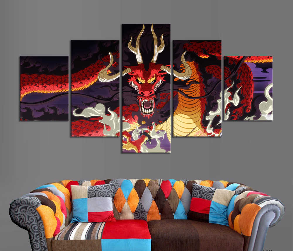 Wohnkultur Modulare Leinwand Bild 5 Stück EINEM STÜCK Kaido Drachen Dämon Obst Anime Malerei Poster Leinwand Malerei