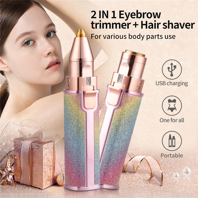 2 In 1 Electric Eyebrow Trimmer Makeup Painless Eye Brow Epilator Mini Shaver Razors Women Portable Facial Body Hair Remover 45 1