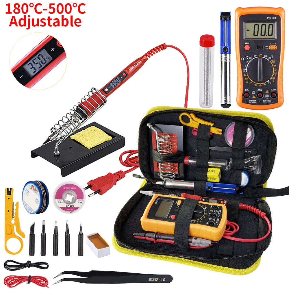 JCD Soldering iron kit with Digital multimeter adjustable temperature 220V 80W LCD welding tools Ceramic heater soldering tips
