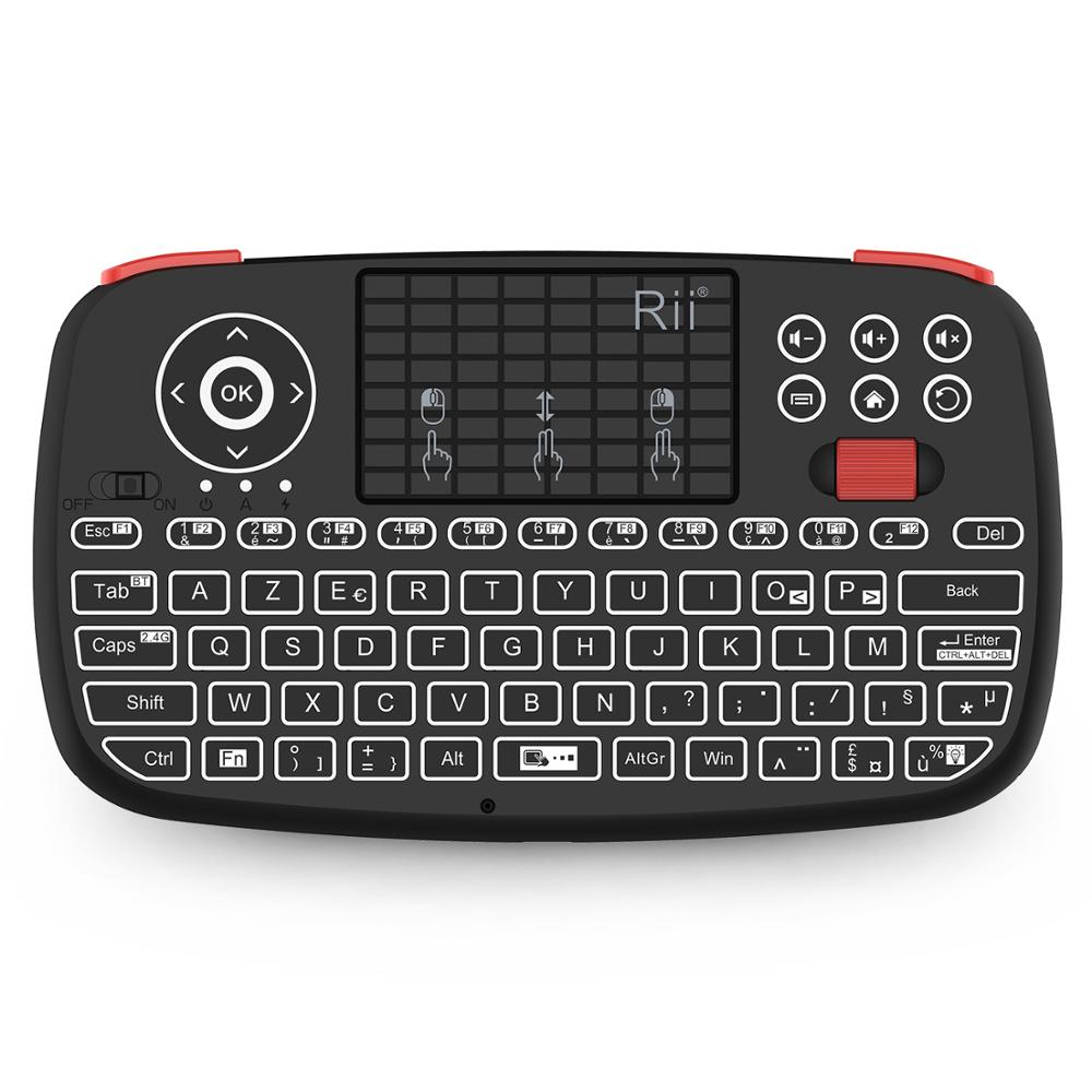 Rii i4 Mini Keyboard French AZERTY 2.4GHz Bluetooth Dual Modes Handheld Fingerboard Backlit Mouse Touchpad for Windows Android