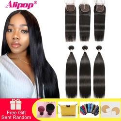 Remy прямые волосы пучки с закрытием перуанские волосы пучки с закрытием натуральные волосы пучки с закрытием Alipop наращивание волос