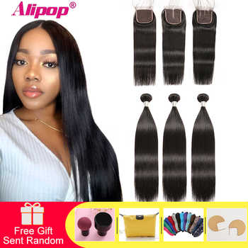Alipop Hair Straight Hair Bundles With Closure Peruvian Hair 3 Bundles With Closure Remy 100% Human Hair Bundles With Closure - DISCOUNT ITEM  57% OFF All Category