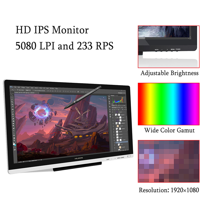 "Image 5 - Huion GT 220 V2 21.5"" Pen Tablet Monitor Digital Drawing Monitor Touch Screen Monitor Interactive Pen Display HD IPS LCD Monitor-in Digital Tablets from Computer & Office"