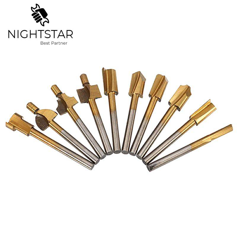 10pcs HSS Wood Router Bits Files Titanium Coated Mini 3mm Wood Cutter Milling Fits Dremel Rotary Set 1/8