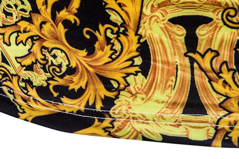 Camiseta de lujo Floral dorada para hombre 2019 invierno nueva camiseta de cuello tortuga de manga larga para hombre Harajuku Streetwear camiseta barroca para hombre