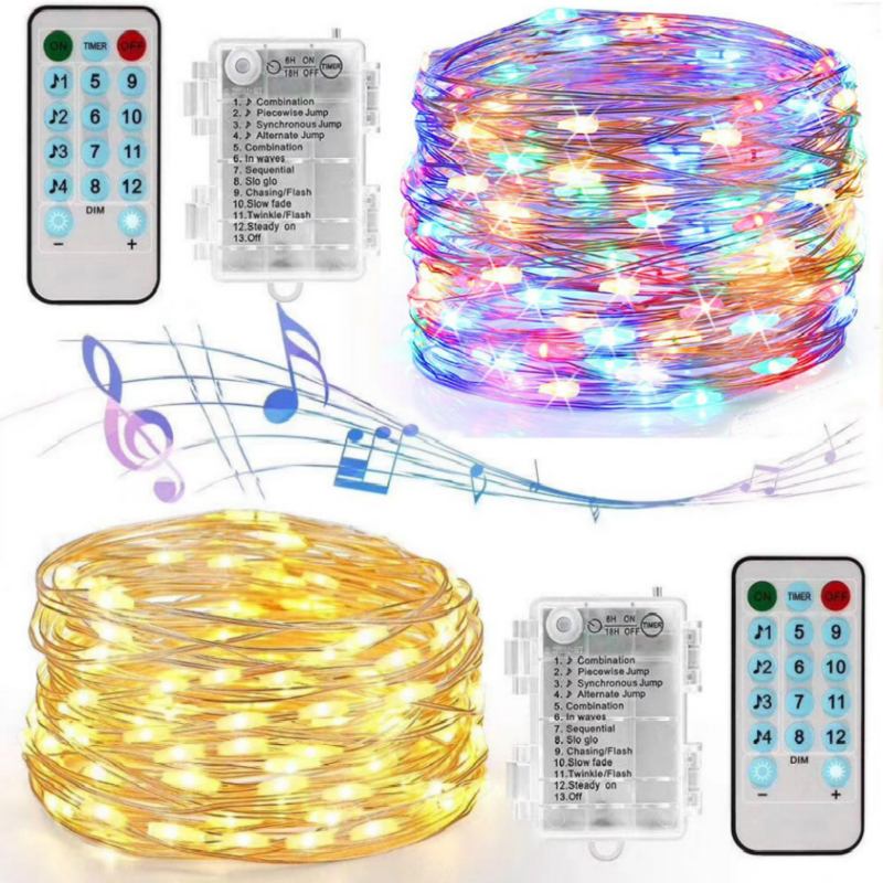 10m 100led USB Charging Sound Activated Music String Lights For Party Christmas Wedding