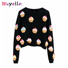 Knitted Sweater Women Cake Pattern Short Style Korean Cute Sweater 2019 Sweet O Neck Long Sleeve Pullovers Chic Women Sweater