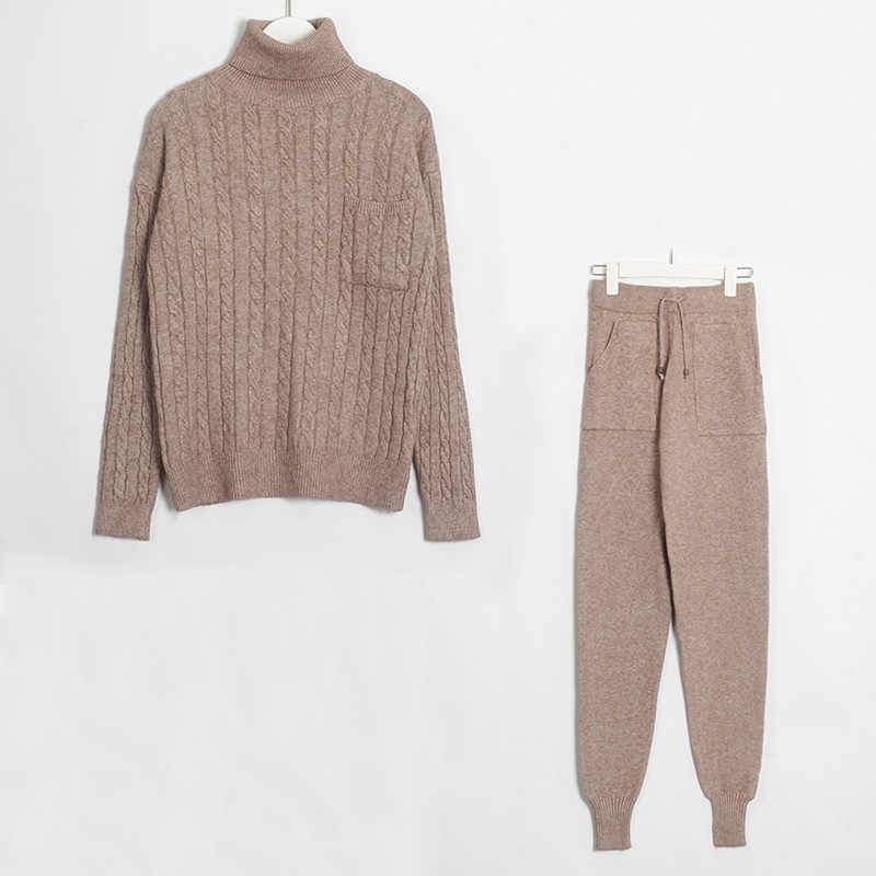 Wixra swetry damskie zestawy swetry z golfem z długim rękawem topy + dzianiny długie spodnie solidne 2 kawałki garnitury jesień zima