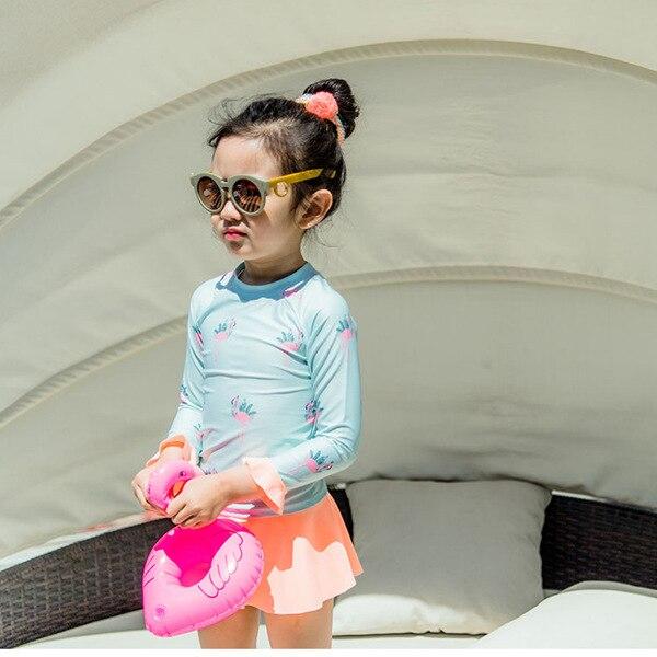 Korean-style New Style Baby Girls Cute Hot Springs Split Skirt Try Bathing Suit Long Sleeve Flamingo Sun-resistant Diving Suit S