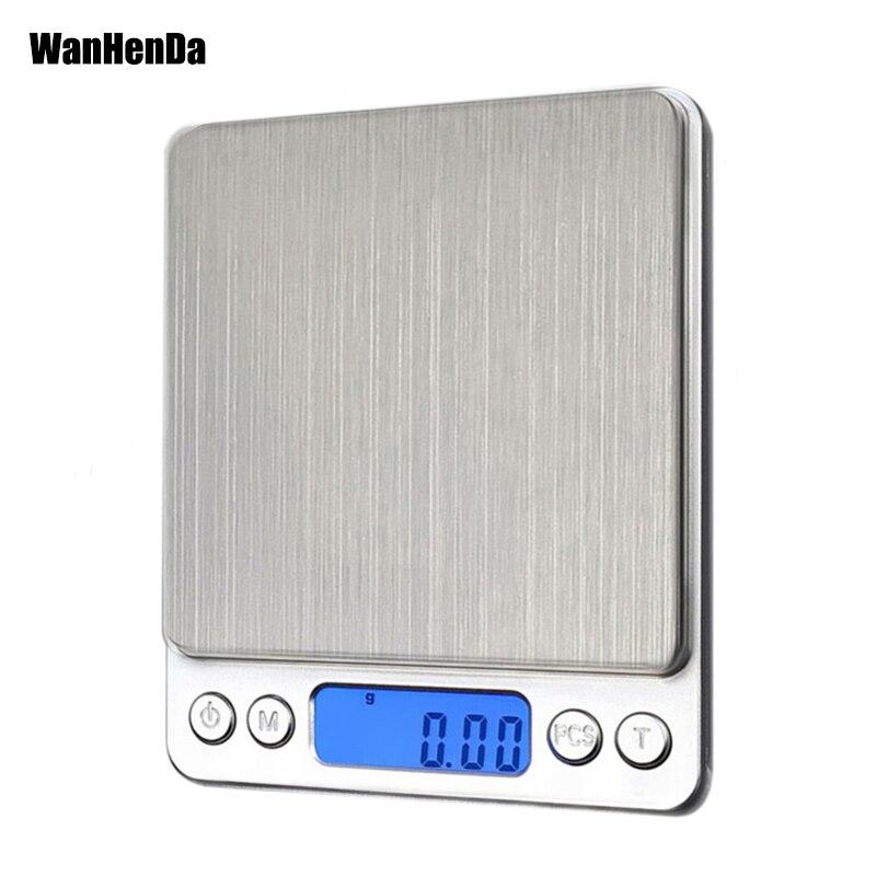 Novo 500/0.01g 3000g/0.1g lcd portátil mini eletrônico digital escalas bolso caixa postal cozinha jóias balança de peso