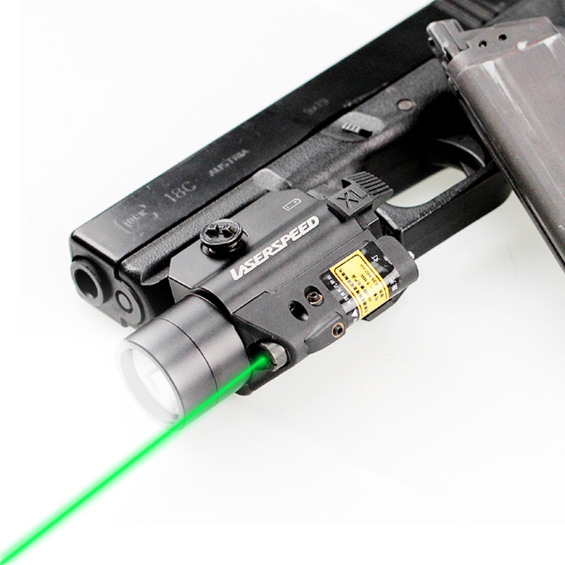 Laserspeed Tactical Light with 532nm Green Laser for Hunting Combo Sight Glock 19 Airsoft Rifle Laser Boresight 20mm Rail