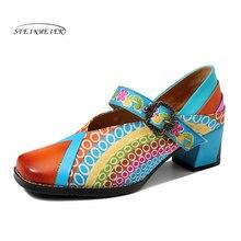 Phụ Nữ Da Thật Chính Hãng Da Oxford Bơm Giày Vintage Nữ Khóa Oxford Gót Giày Cho Nữ Spring 2020 Handmade Giày