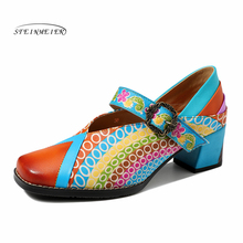 Women Genuine leather oxford pumps shoes vintage lady buckle oxford heels shoes for women spring  2020 handmade shoes