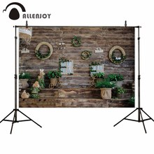 Allenjoy easter spring photography background wooden wall wreath stairs plants weddings photophone kid backdrop for photo studio