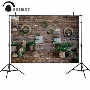 Image 1 - Фон для фотосъемки Allenjoy Пасхальная Весенняя фотография деревянная стена венок лестница растения Свадебный Фотофон детский фон для фотостудии