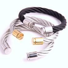 купить Classical Charms Stainless Steel Cuff Bangle Bracelet Punk Cable Twist Wire Stripe Wedding Party Women Men Jewelry Accessory дешево