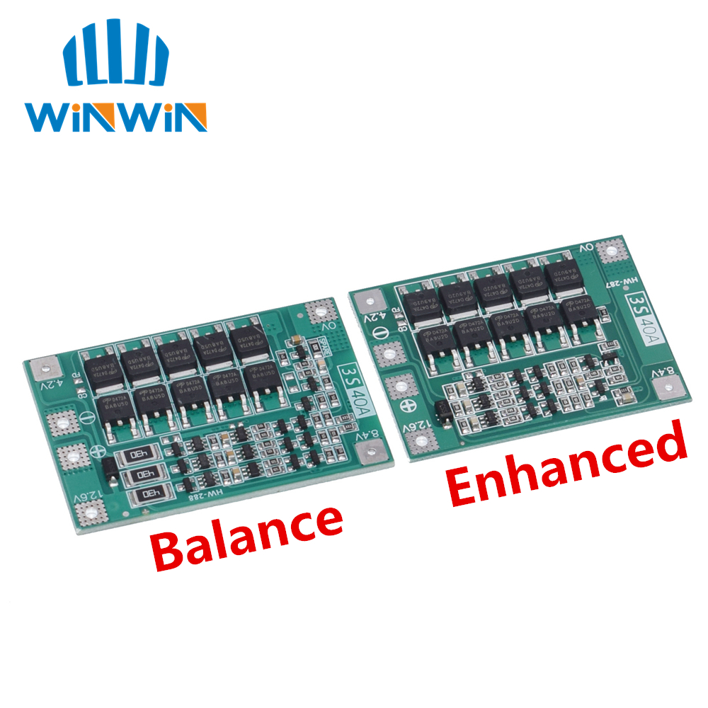 3S 40A Li-ion Lithium Battery Charger Protection Board PCB BMS For 40A Current Drill Motor 11.1V 12.6V Lipo Cell Module Balance