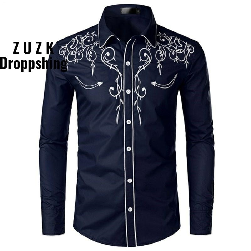 10Colors Men's Fashion Western Denim Shirt Men's Design Embroidered Slim Long Sleeve Shirt Men's Wedding Party Casual Shirt Men