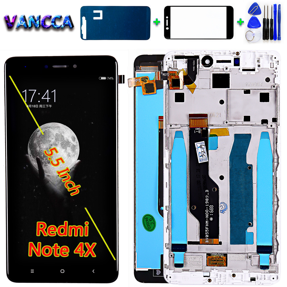 Vancca Lcd Display For Redmi Note 4 Global / Note 4X (CPU:Snapdragon 625) Toucch Screen Digitizer Assembly Frame Free Tools
