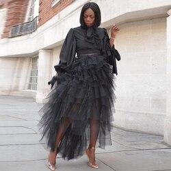 Новая черная высокая низкая ярусная Тюлевая юбка для выпускного вечера эластичная талия длина до пола африканские женские длинные юбки Saia ...