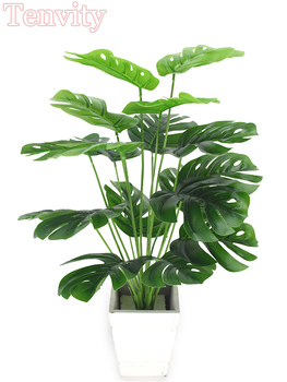 Artificial Plants Green Palm Leaves Monstera Home Garden Living Room Bedroom Balcony Decoration Tropical Plastic Fake Plant Long artificial tropical palm leaves monstera leaves 7 leaves bouquet 70cm simulated green plant leaf for indoor home decoration