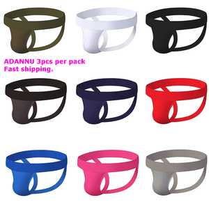 ADANNU Fashion Men Jockstraps gay soft underwear Sexy Men underwear penis pouch Push UP thong men G-string homme tanga hombre