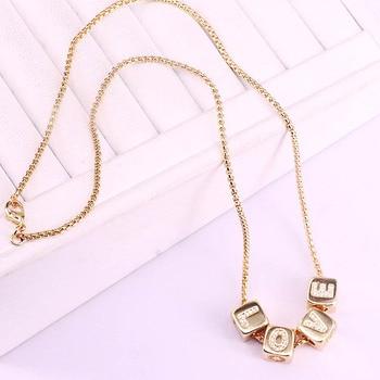 Collar de circonia cúbica con diseño de letras cz de 5 uds, componente colgante de circonia cúbica en forma de cubo, colgante popular de color dorado