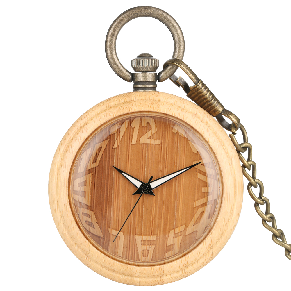Bronze Bamboo Case Pocket Watches Creative Carving Arabic Numerals Dial Practical Alloy Pendant Chain Gift Unisex
