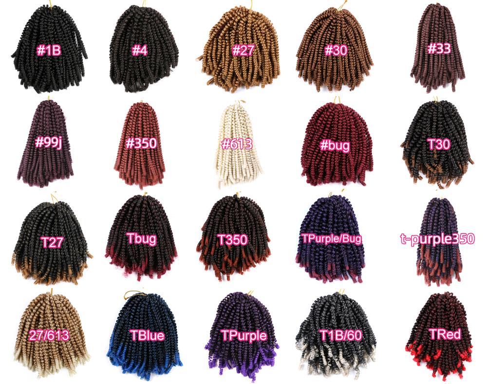 Saisity 8 дюймов пушистые Омбре Пружинные твист волосы синтетические страсти твист крючком волосы для наращивания плетеные волосы предварител...