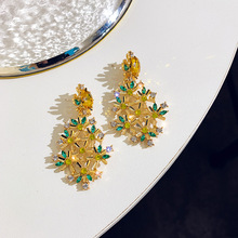 Womens fashion earrings New arrival brand sweet metal with gems stud crystal earring for women girls