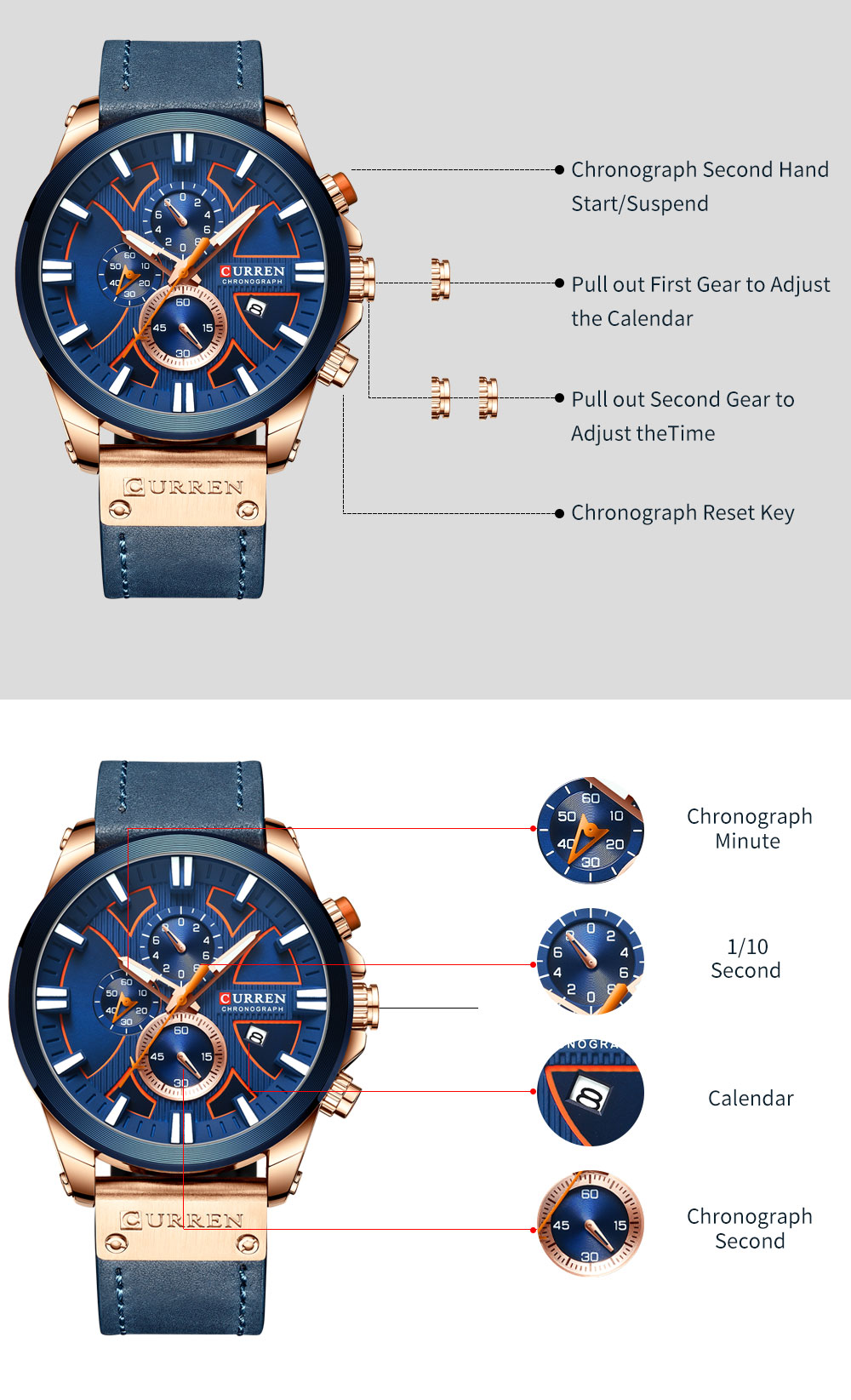 CURREN Brand Luxury Men Watch Leather Quartz Clock Fashion Chronograph Wristwatch Male Sport Military 8346 Relogio Masculino
