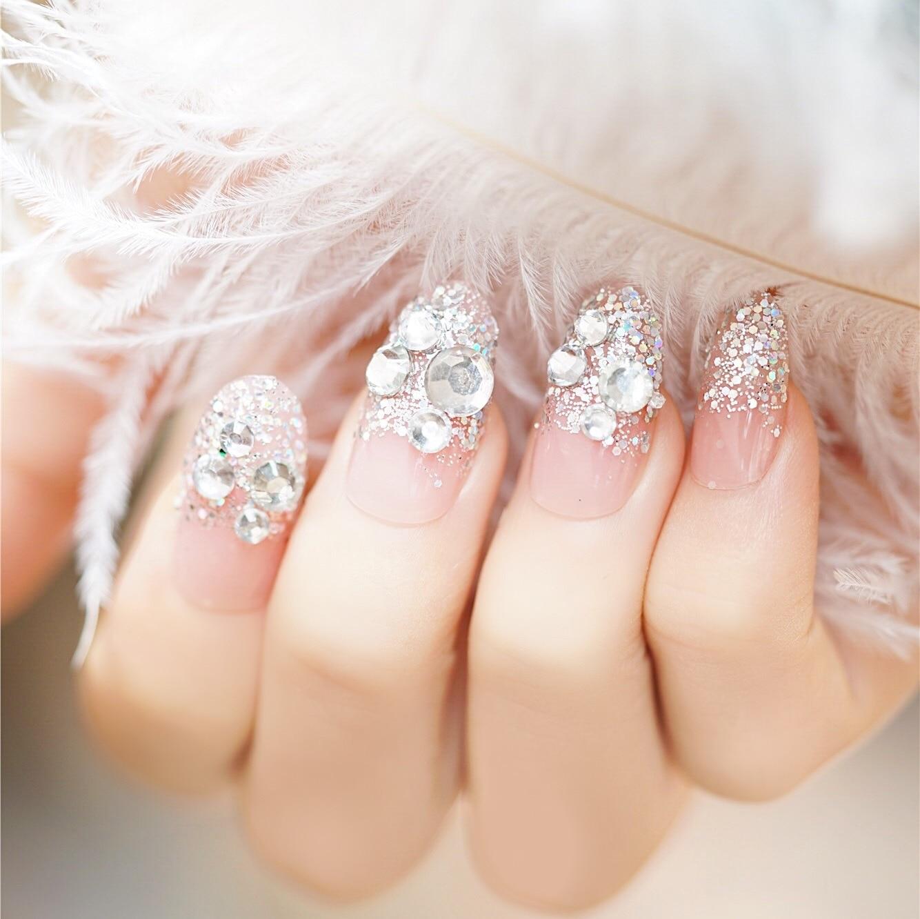 326-Naked Powder Round-Toe Flat-bottomed Diamond Gum-Finished Product Manicure Fake Nails Wholesale Bride Manicure Stickers