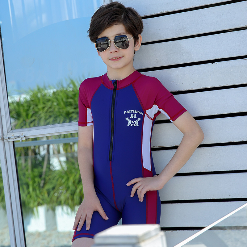 KID'S Swimwear Small Middle And Large BOY'S Boy Baby South Korea New Style One-piece Boxer Send Swimming Cap Students Tour Bathi