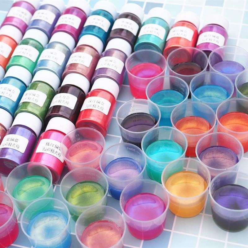 Diy camaleões resina de cola epoxy pigmentos sinfonia em pó mini escova pérola pigmento arte do prego artesanato de resina de dearation